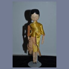Old Wood Grodnertal Doll Jointed Carved