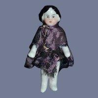Antique Doll Miniature Frozen Charlotte China Head Dollhouse