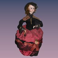 Antique Doll Automaton Gypsy Lady Key Wind Up Mechanical French R D Rabery Delphieu Bisque Closed Mouth