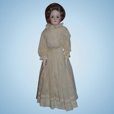 Antique Gorgeous Bisque Doll Kestner Closed Mouth Old Clothing Wonderful Wig