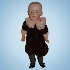 Antique Doll Bisque  Gebruder Heubach 7129 CHaracter Boy Expressive Face Dressed!