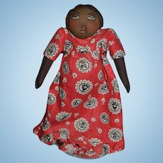 Vintage Doll Black Cloth Stockinette Doll Painted Features