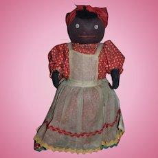 Vintage Doll Black Doll Cloth Doll Stockinette Over Wood Base Button Eyes