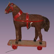 Old Doll Pull Toy Horse on Wood Plank W/ Wheels
