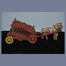 Old Doll Cast Iron Horse and Carriage OVERLAND CIRCUS Toy