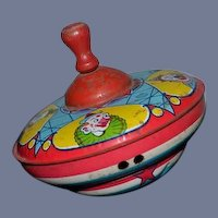 Old Tin Litho Spinning Top J.Chein Clowns Doll Toy