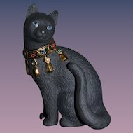 Gorgeous Porcelain Cat Lenox Black Cat W/ Jewels Black Jack Figurine