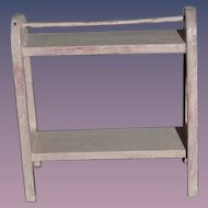 Old Doll Miniature Wood Painted Quilt Rack or Towel Rack Dollhouse