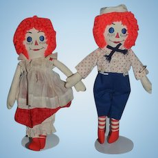 Vintage Doll Cloth Doll Raggedy Ann and Andy Set Miniature