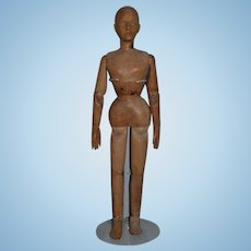 """Antique Doll Wood Jointed Large Carve Mannequin Unusual 26"""" Tall Swivel Waist"""