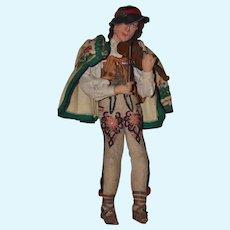 Old Unusual Doll Original Clothing Cloth Felt Doll w/ Papier Mache Head Playing Wood Violin