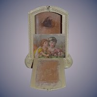 Antique Wood Miniature Painted Wardrobe W/ Old Picture Trousseau or Trunk