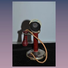 Old Metal and Wood Telephone Toy Plaphone-600 THE GONG BELL MFG. Miniature Original Label Doll Display