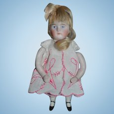 Antique Doll Miniature All Bisque Jointed Arms WONDERFUL Face Dollhouse