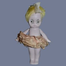 Old Bisque Doll Big Glass Eyes Frozen Pink Tint Boxy Miniature Hertwig