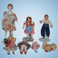 Antique Doll Lot Miniature Dollhouse Dolls SEVEN Dolls