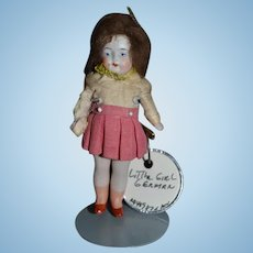 Antique Doll Miniature All Bisque Jointed Dollhouse Original Factory Clothes