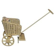 Vintage Doll Miniature Wicker Wood Pram Stroller Carriage Dollhouse Signed Carol Paterson