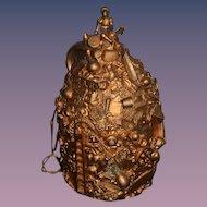 Antique Memory Jug Crock Old Movable Monkey On Top Folk Art Gilded Miniatures FAB