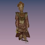 Antique Doll Large Wood Carved Puppet Oriental Gorgeous Original Clothing