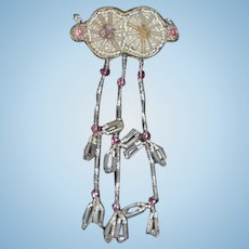 Old Doll Fancy Beaded Brooch Dripping Beads Miniature