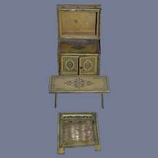 Old Doll Tin Miniature Kitchen Set Dollhouse Cupboard Table Washer