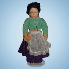 Old Cloth Felt Lenci Doll Jointed Sweet Sorrentina Signed on Feet