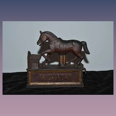 Old Cast Iron Trick Pony Bank Unusual Mechanical