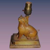 Old Cat Cast Metal Bank Lindy's KAT  BANK Lamp