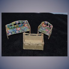 Old Doll Miniature Dollhouse Painted Furniture Wonderful Wicker Type