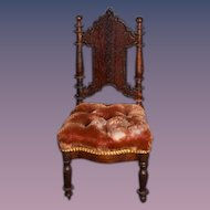 Old Doll Miniature Dollhouse Ornate Tufted Chair Side Chair