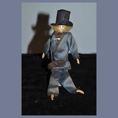 Old French Cloth Doll W/ Cigarette Miniature Dollhouse Original Clothing