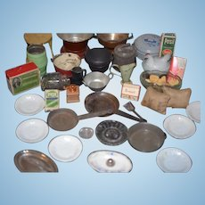 Great Doll Old Miniature Lot Kitchen Store Miniatures Dollhouse Tins, Grinder, Glass Food and MORE