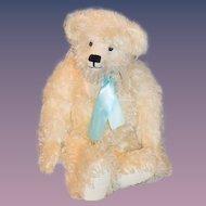 Wonderful Artist Teddy Bear LARGE White Gorgeous W/ Collar Mohair Leather Paws