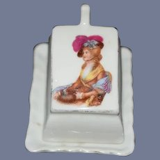 Old Doll Miniature Porcelain Covered Dish W/ Portrait Cheese Dish Dollhouse
