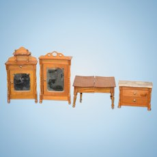 Old Doll Miniature Wood Dollhouse Furniture Set Wardrobe Marble Top Chest Table W/ Leaves Extension