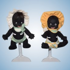 Adorable R. John Wright Black Felt Cloth Doll Set Gollibaby Golliwog Gollibabies Boy and Girl Signed
