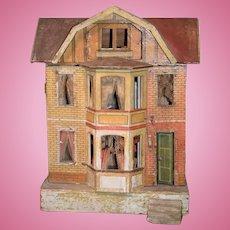 Antique Doll Gottschalk Dollhouse Red Roof Elevator Wood & Litho