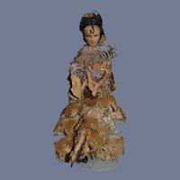 Old French Cloth Doll Raquel Meller Doll Wonderful Old Tag