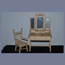 Antique Doll Vanity Wood W/ Folding Mirrors and Accessories Fashion Doll & Doll Shoes