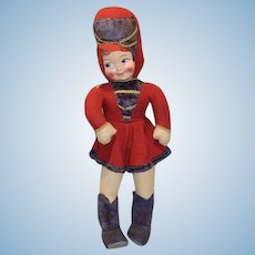 Old Cloth Doll Large Majorette Big Girl Adorable Dimples