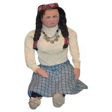Wonderful Artist Indian Doll Carved Wood LARGE  Unusual Native American
