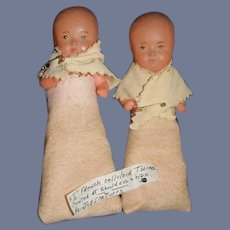 Old Doll Miniature Celluloid French Doll Set Babies in Original Clothes TWINS Dollhouse Miniature