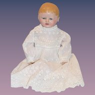Antique Doll Oil Cloth Martha Chase W/ Beautiful Christening Gown