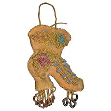Old Beaded Boot Souvenir Pillow Fancy Sewing Pincushion