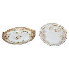 Antique Doll Porcelain Dishes Platter Miniature Dollhouse Limoges