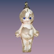 Old Miniature Tiny Kewpie Glass Painted Charm Doll Dollhouse