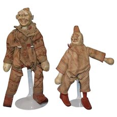 TWO Antique Doll Schoenhut Clown Dolls Wood Carved Jointed Circus