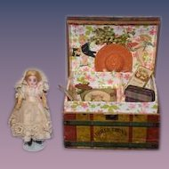 Antique Doll Miniature Dollhouse W/ Trunk and Accessories WONDERFUL Bisque