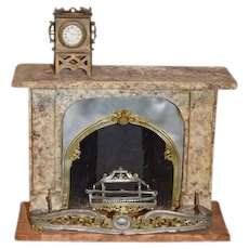 Old  Doll Wood & Metal Ornate Miniature Fireplace Faux Marble Charming W/ inserts Dollhouse